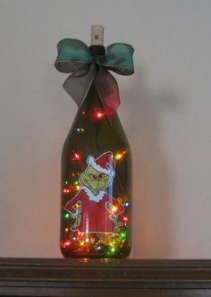 wine bottle lights   ... to THE GRINCH - Wine Bottle Light with multi OR clear lights on Etsy