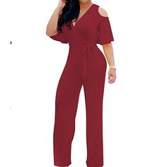 2948439bfe0a Women s Wide Leg Cut Out Party Off Shoulder Black Wine Royal Blue Wide Leg  Jumpsuit