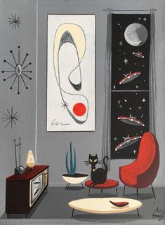 "Learn even more details on ""modern abstract art painting"". Look into our internet site. Mid Century Modern Art, Mid Century Art, Retro Art, Retro Vintage, Vintage Space, Space Cat, Retro Futurism, Abstract Wall Art, Cat Art"