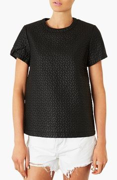 Topshop 'Aero' Quilted Faux Leather Tee on shopstyle.com