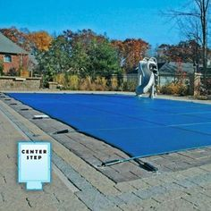 18 x 36 ft. Rectangle Mesh Safety Pool Cover with 4 x 8 ft. Center End Step - Blue Mesh - Walmart.com