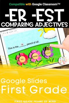 Widening your students' vocabulary and grammar can improve reading and writing. It's easy to teach comparative adjectives to first grade with these Google Slides for kids. Perfect for teaching online or in the classroom, or make it an activities assignment in Google Classroom. Teaching comparatives and superlatives can be a snap! #distancelearning #firstgrade #1stgrade Vocabulary Strategies, Academic Vocabulary, Vocabulary Activities, Teaching Activities, Classroom Posters, Google Classroom, 1st Grade Writing, Teacher Lesson Plans, Spelling Activities