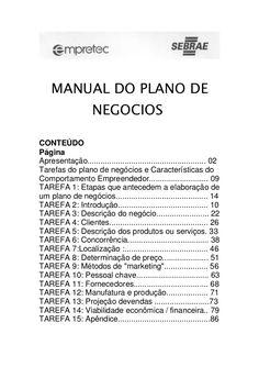 Manual do plano de negócios do SEBRAE
