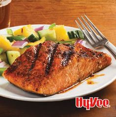 The rub used on this BBQ Spiced Salmon is sweet and spicy and smoky. Try it on beef and pork too.