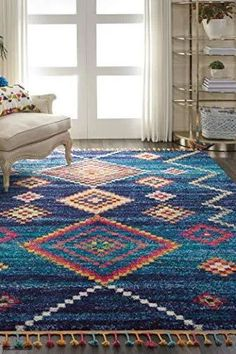 Simple Bedroom Decor, Tribal Decor, Accent Rugs, Grey Rugs, Diamond Pattern, Colorful Rugs, Moroccan, Hand Drawn, Wool Rug
