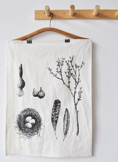 spring tea towel $16....kinda pricey....you know you can do this with rubber stamps yourself