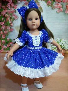 """Платьице для куколки 50 см """"Любимые горошки"""" / Одежда для кукол / Шопик. Продать купить куклу / Бэйбики. Куклы фото. Одежда для кукол Baby Girl Frocks, Frocks For Girls, Little Girl Dresses, American Girl Dress, American Doll Clothes, Sewing Doll Clothes, Girl Doll Clothes, Baby Girl Dress Patterns, Dolls"""