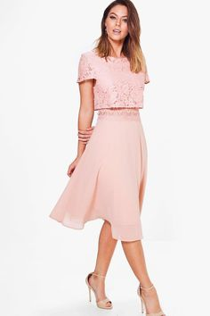 Annie Lace Top Chiffon Skater Dress | Boohoo