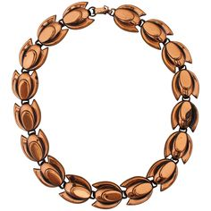 Matisse-Renoir Vintage Copper Tulip Shaped Necklace - circa 1950's     From a unique collection of vintage more necklaces at https://www.1stdibs.com/jewelry/necklaces/more-necklaces/