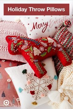 Add pops of fun to your living room wi. Add pops of fun to your living room with holiday designs. Christmas Sewing, Christmas Pillow, Felt Christmas, Winter Christmas, All Things Christmas, Christmas Holidays, Christmas Decorations, Christmas Ornaments, Christmas Projects
