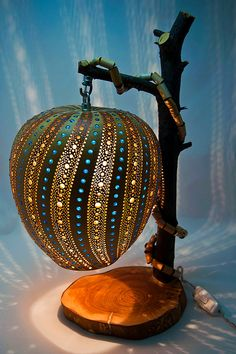 Gourd Lamp The Blue Way Decorative Gourd by TheColorsofTheArt