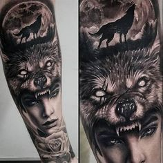 woman with wolfs headpiece Tattoo by Beny Pearce