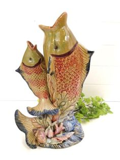 ANTIQUE-FRENCH-PALISSY-MAJOLICA-DUAL-FISH-THOMAS-SERGENT-VASE-1880-PITCHER