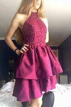 Halter Dresses,Short Homecoming Dresses,Grape Party Dresses,Beading Prom Dresses