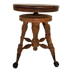 Details About Antique Chas Parker Co Piano Stool Swivel