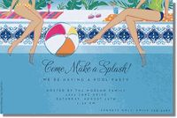If you are hosting a summer luncheon with just the girls, these pool party invitations are perfect for inviting friends to take a dip in the pool. Pool Party Favors, Pool Party Kids, Pool Party Invitations, Deck Party, Brunch Invitations, Kid Pool, Personalized Invitations, Bridal Shower Invitations, Party Entertainment