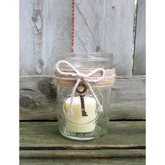 Rustic Wedding Mason Jar Wedding Votive Candle Holder Country Wedding... ($25) ❤ liked on Polyvore featuring home, home decor and candles & candleholders