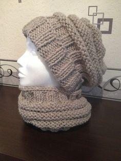 Ensemble Snood + Bonnet Adulte Femme/Ado en laine épaisse, chaude douce et confortable de coloris beige : Echarpe, foulard, cravate par carole02000