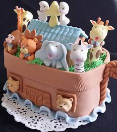Noahs Ark Decorations Beautiful Ark Cake topper Great for baby showers and Birthday and Cakes Decorations As shown on picture only Approx. 6 x 5  All arks will be made as pictured  ***** For Matching Arks picks for Cupcake and Favors Decorations follow this link ******