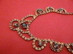 Vintage 15  topaz and citrine rhinestone necklace in by jeanmc, $25.00