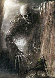 skeletons vs Giant Skeleton -- fantasy/horror concept by Eiich Matsuba Dark Fantasy Art, Fantasy Artwork, Dark Art, Arte Horror, Horror Art, Art Noir, Arte Obscura, Fantasy Monster, Fantasy Inspiration