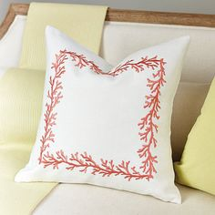 Coral is one Suzanne's favorite accent colors for the summer. Her Reef Pillow is embroidered in a delicate coral branch motif on her signature cream 13 oz. linen for a soft touch of seaside texture.