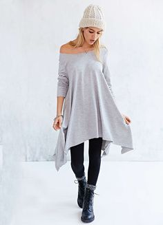Grey Long Sleeve Asymmetric Loose Dress
