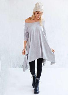 Grey Long Sleeve Asymmetric Loose Dress - Sheinside.com