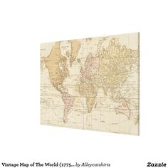 Vintage Map of The World (1775) 4 Canvas Print