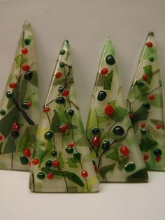 Modern Fused Glass Christmas Tree Pin by elementsoffusion on Etsy