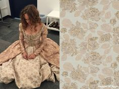 In this BTS picture posted by Reign's costume designer Meredith Markworth-Pollack (@meredith_costumes on Instagram) Rose Williams wears the Reign Costumes custom dress.  The bodice and the front part of the skirt were made with this Metallic Gold and Pastel Rose Floral Brocade Fabric from Mood Fabrics via Fabriluxe