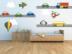 Truck Wall Decal - Plane Wall Decal - Car Wall Decal - Transportation Wall Decal - Boy Wall Decal-Nursery Wall Decal-Kids Wall Decals