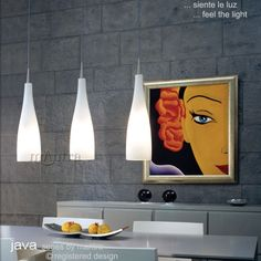 M0062 Java Pendant light - Contemporary style triple pendant bar light finished with a Nickel ceiling rose and Opal white glass