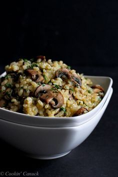 Toasted Brown Rice with Mushrooms and Thyme Recipe...Sometimes the best part of the meal are the side dishes. 56 calories and 1 Weights Watchers PP | cookincanuck.com #vegan #glutenfree