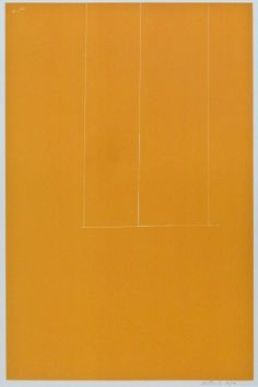 Robert Motherwell (1915-1991 American) London Series #1: Untitled 1971 Orange Screenprint 25.75''x24''. Pencil signed and numbered 129 of an edition of 150 in lower margin.