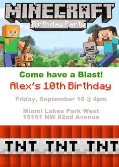 Minecraft Birthday Theme Invitation & Tags by TheLovelyMemories