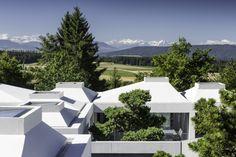 Mit dem gemeinsamen Bau der vier Hofhäuser ergab sich ein nur minimaler Einschnitt in den gemeinsamen Außenraum   Think Architecture ©Radeck Brunecky, Zürich