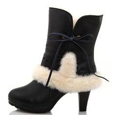 Womens 5108 UGG Lace Suede High-Heel Sheepskin Boots Black