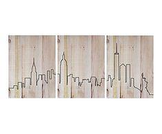 Impresión De Madera Skyline   135x60 Cm