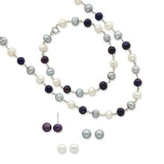Sterling Silver Freshwater Cultured Pearl 18 in Neck. 7.25 in Bracelet & 3 Piece Earrings Pearl Collection. $65.86. Save 25%!