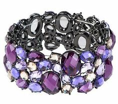 Add glamour and shine to your outfit with this mosaic stretch bracelet. #RadiantOrchid #ColoroftheYear
