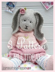3+Knitting+Patterns/Tearoom+Girl+Bunnies/PDF+door+maryjanestearoom,+$11.00