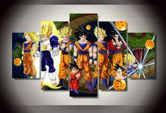 5 Piece Multi Panel Framed Dragon Ball Z Super by OctoTreasures