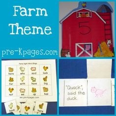 Lots of ideas for preschool, pre-k, or kindergarten farm theme via   www.pre-kpages.com/farm/