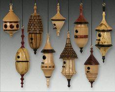 Birdhouse ornaments, by Don Leman.