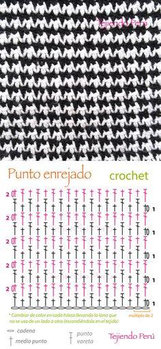 Crochet: punto enrejado, pie de gallo o pied de poule (diagrama)  ¡Lindo punto que intercala solo medio punto y varetas!
