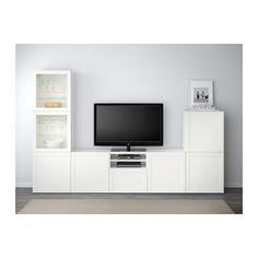 BESTÅ Combinazione TV/ante a vetro - guida cassetto/apertura a pressione, Hanviken/Sindvik vetro trasparente bianco - IKEA