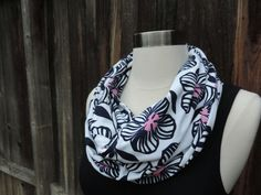 Infinity Scarf // Navy and pink floral // by MrsShellyHomemaker, $18.00