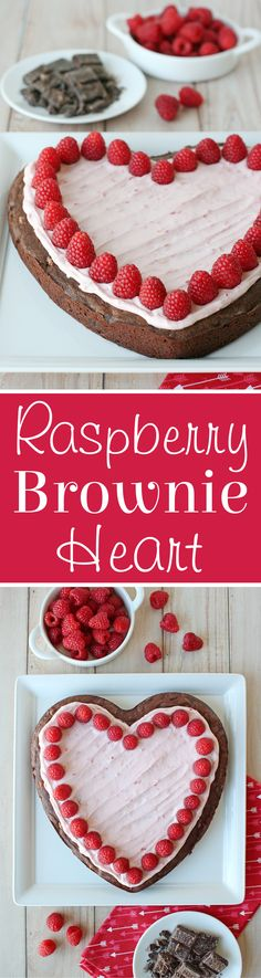 This Raspberry Fudge Brownie Heart recipe is perfect for Valentine's Day! A perfect homemade fudge brownie is topped with raspberry frosting and fresh raspberries. Brownie Toppings, Brownie Cake, Brownie Recipes, Paleo Dessert, Dessert Bars, Dessert Recipes, Desserts, Raspberry Frosting, Raspberry Brownies