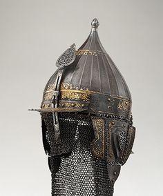 Helmet, mid–16th century; Ottoman periodTurkishSteel, damascened with gold